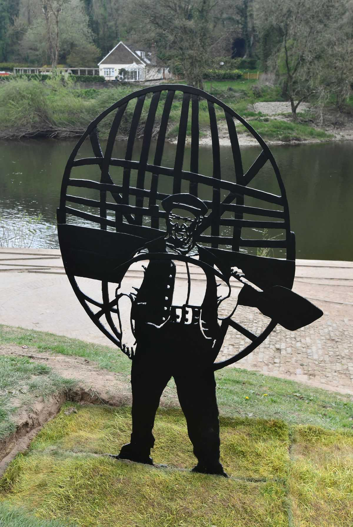 Ironbridge Tommy Rogers' iron sculpture of the coracle man.  Photo: David Bagnall